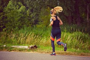 Woman running - sweating